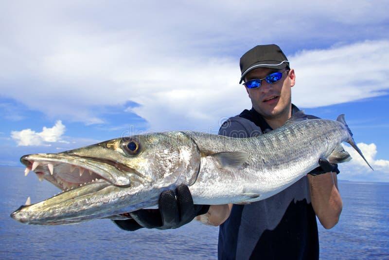 Pesca en mar profunda barracuda imagen de archivo
