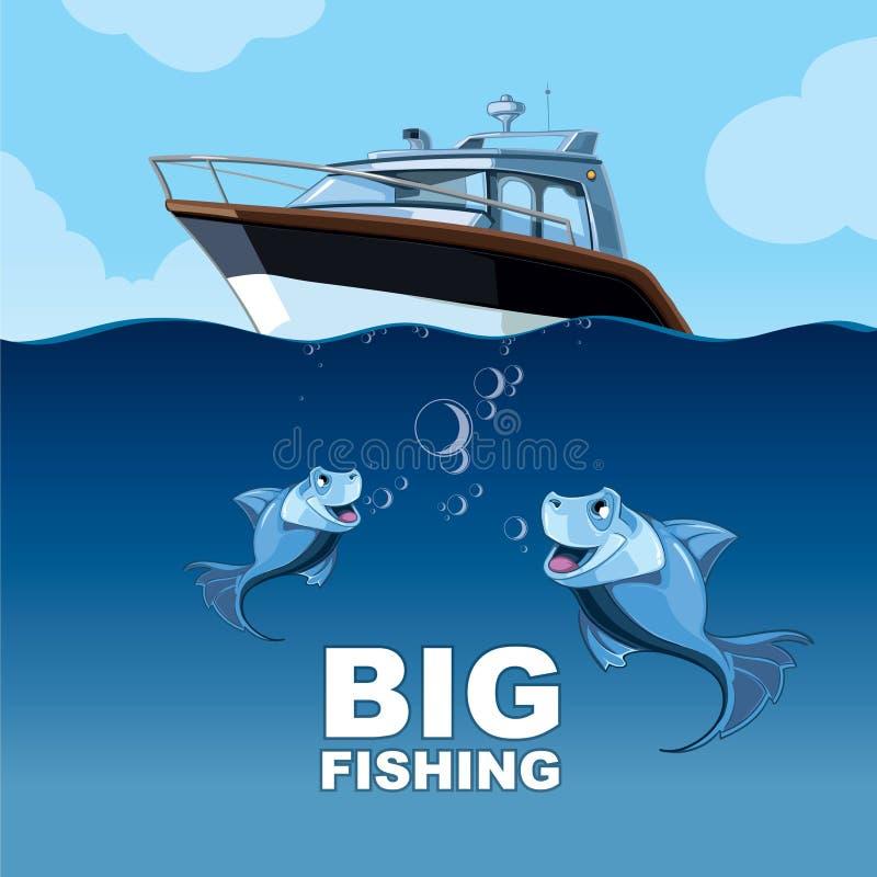 Pesca grande ilustração do vetor