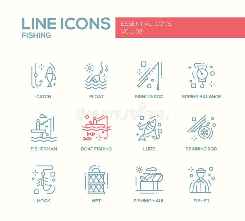 Pesca - línea iconos del diseño fijados stock de ilustración