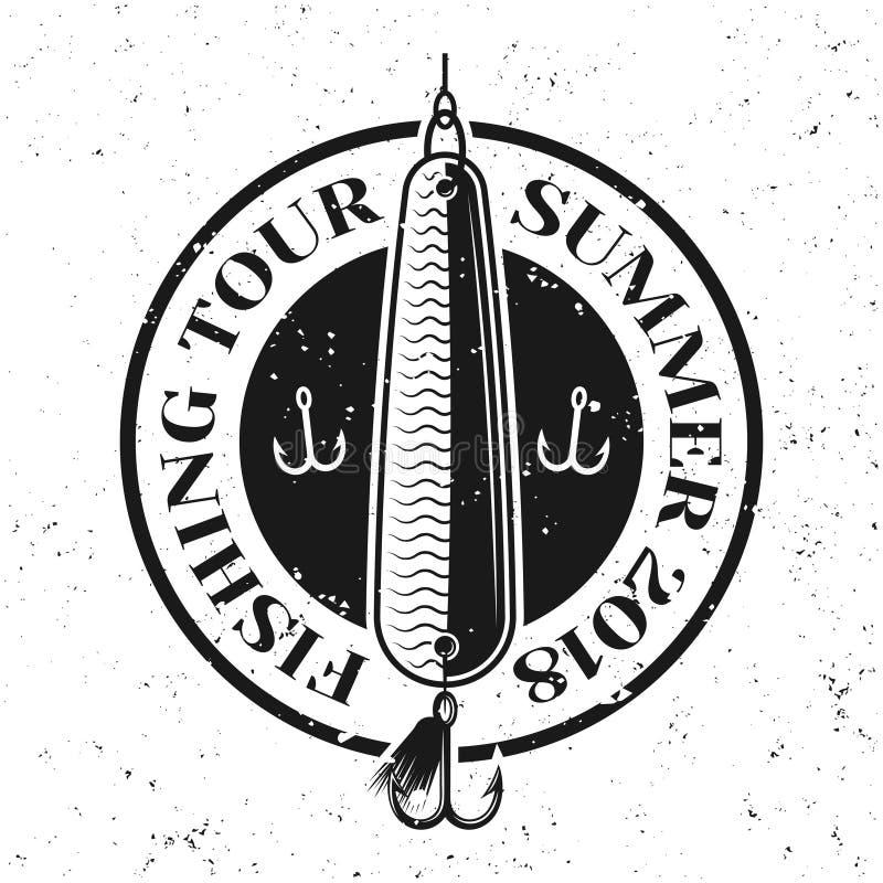 Pesca l'emblema o del distintivo di vettore con il cucchiaio dell'esca illustrazione vettoriale