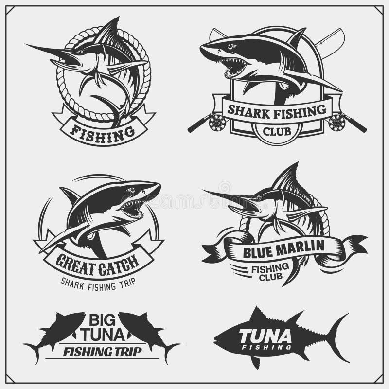 Pesca le etichette, i distintivi, gli emblemi e degli elementi di progettazione Illustrazioni del tonno, di Marlin e dello squalo illustrazione di stock