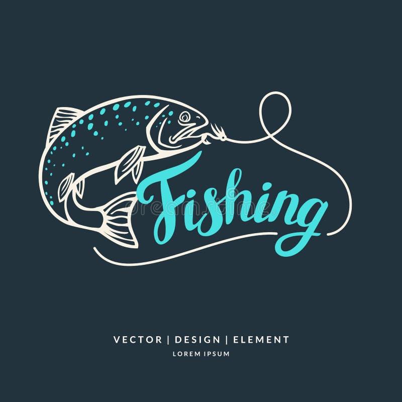 Pesca Mano moderna dibujada poniendo letras a frase libre illustration