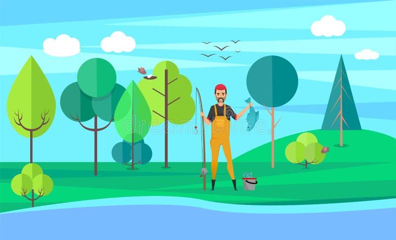 Pesca masculina, pescador Holding Pike, vector de la afición libre illustration