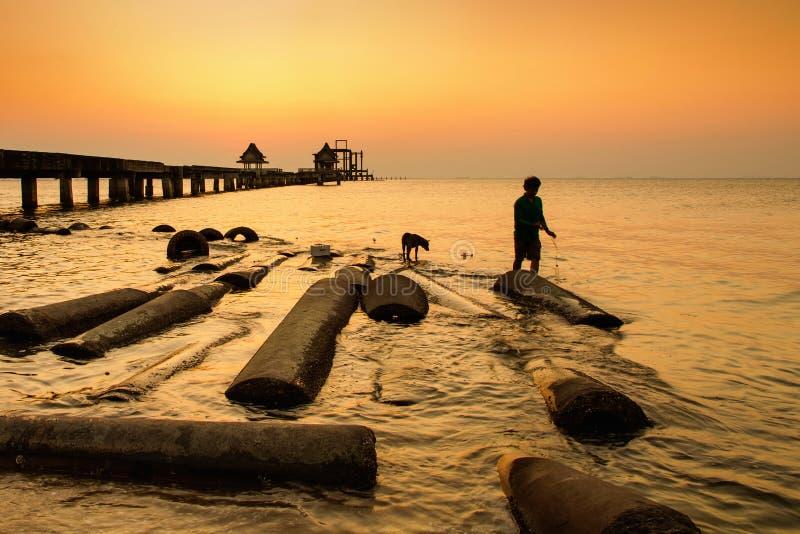 Pesca não identificada do pescador e do cão na ponte no por do sol tailândia foto de stock