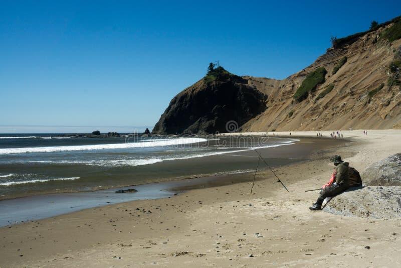 Pesca na costa foto de stock royalty free