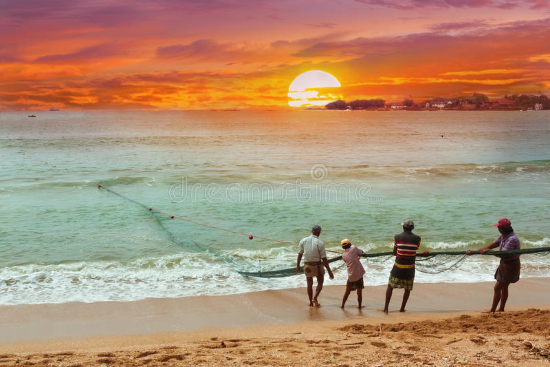 Pesca na maneira tradicional perto de Galle em Sri Lanka fotografia de stock