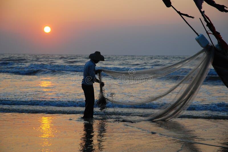 Pesca na manhã fotografia de stock