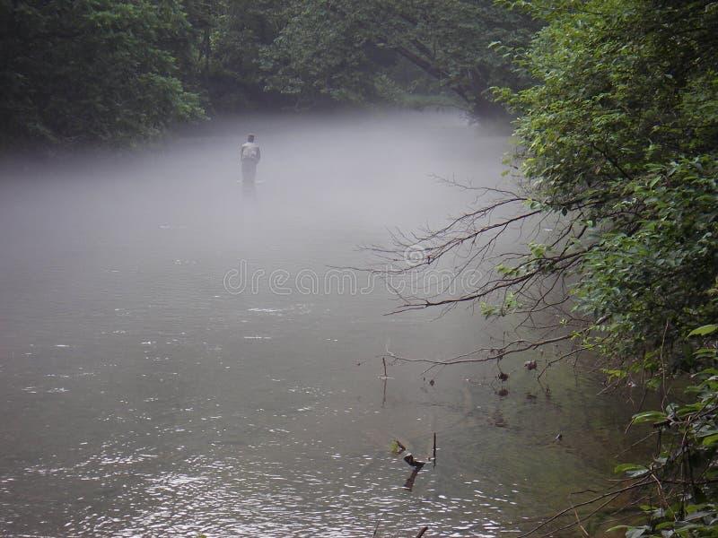 Pesca na névoa imagem de stock
