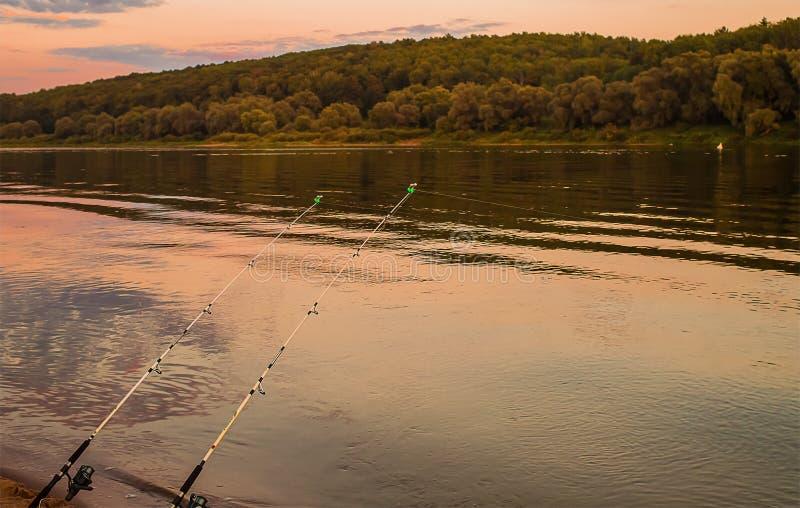 Pesca no amanhecer que espera o silêncio da captura e o t imagem de stock