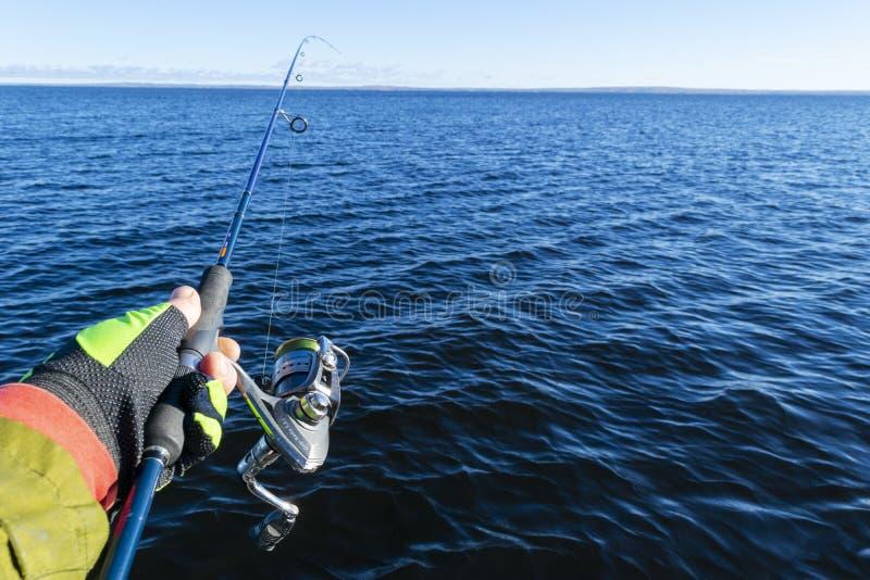 Pesca no lago Mãos do pescador com vara de pesca Tiro macro A vara de pesca e as mãos do pescador sobre o lago molham girar imagens de stock