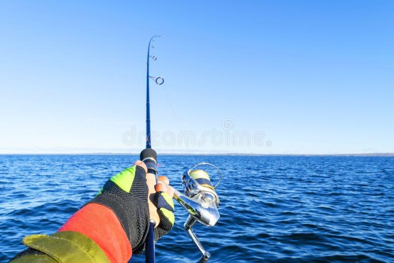 Pesca no lago Mãos do pescador com vara de pesca Tiro macro A vara de pesca e as mãos do pescador sobre o lago molham girar imagens de stock royalty free