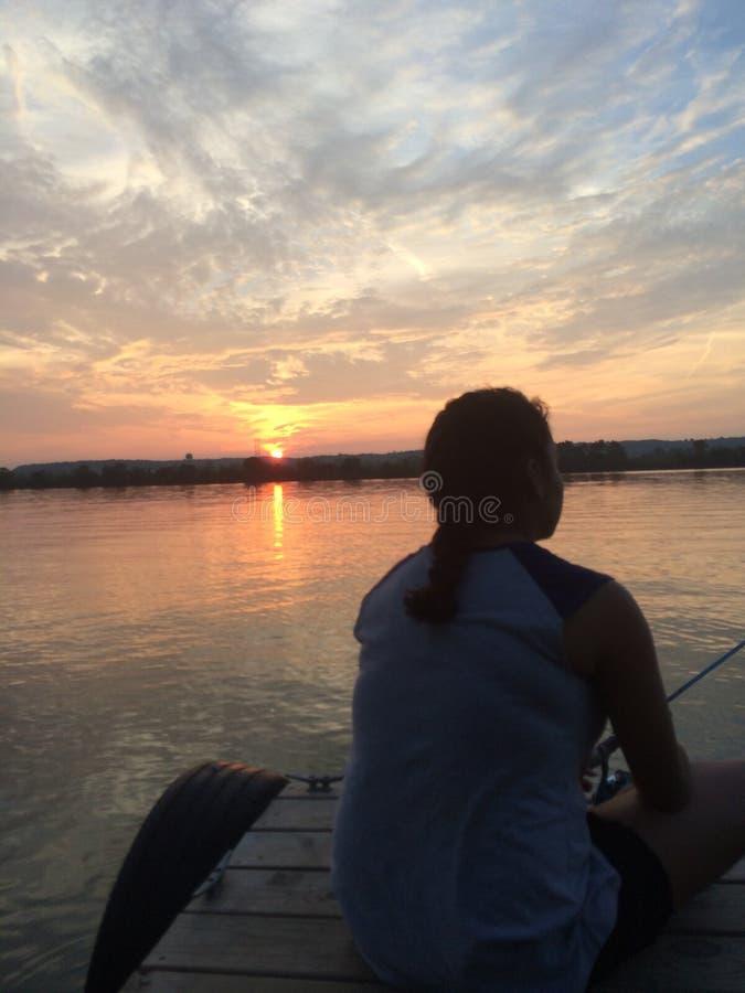 Pesca no Rio Ohio fotografia de stock