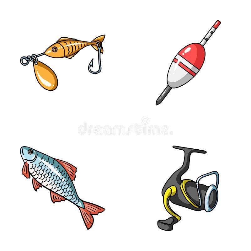 Pesca, pescado, captura, gancho Pescando iconos determinados de la colección en estilo de la historieta vector el web común del e stock de ilustración