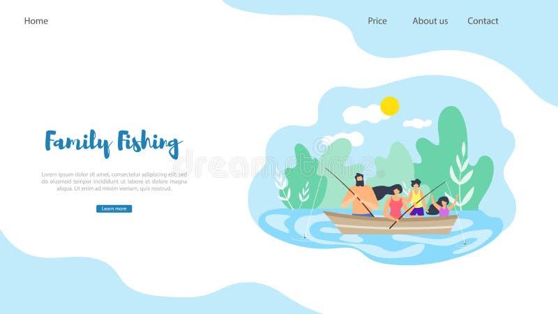 Pesca plana de la familia del ejemplo de la bandera del vector libre illustration