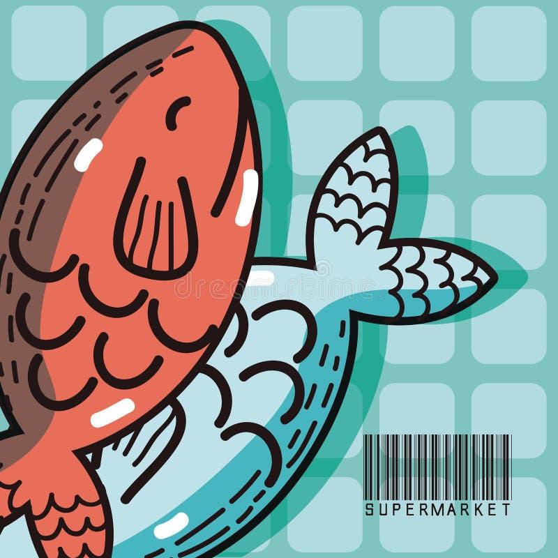 Pesca productos del mercado estupendo del marisco ilustración del vector