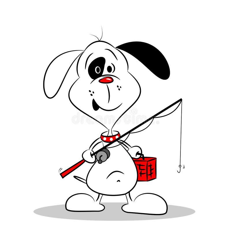 Pesca que va del perro de la historieta ilustración del vector