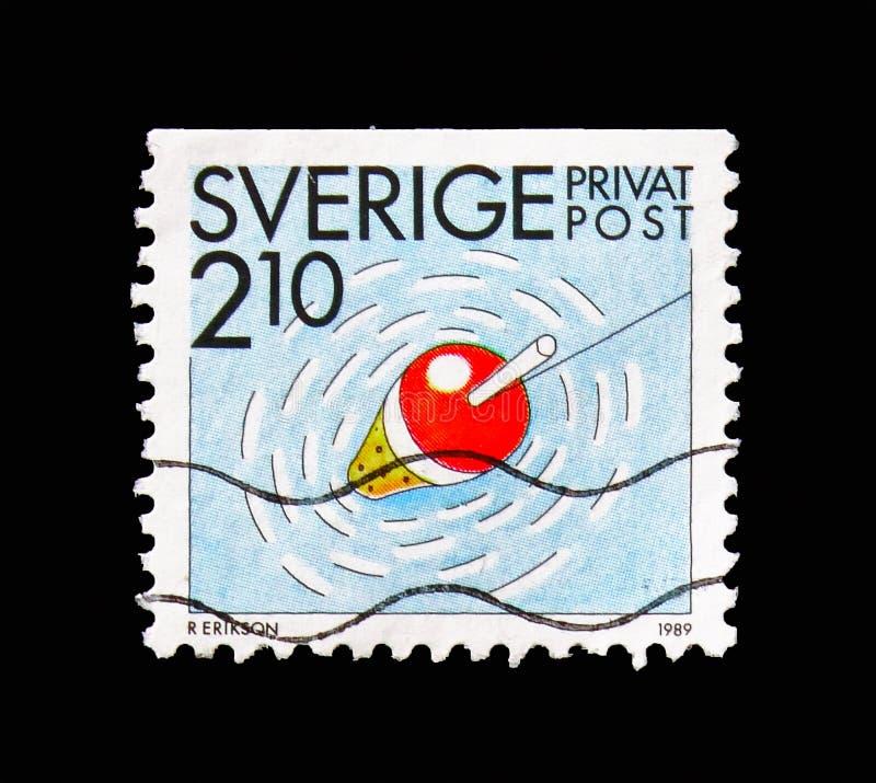 Pesca, sellos de la rebaja - serie de las actividades del verano, circa 1989 fotografía de archivo