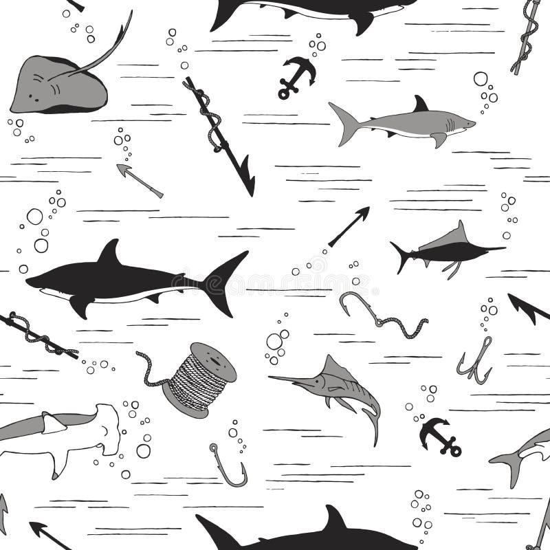 pesca Teste padr?o sem emenda ilustração royalty free