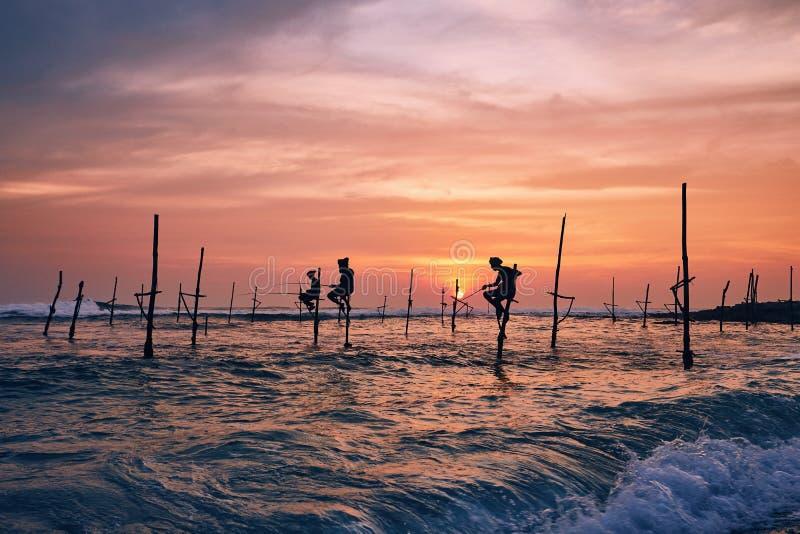 Pesca tradicional del zanco en Sri Lanka fotografía de archivo
