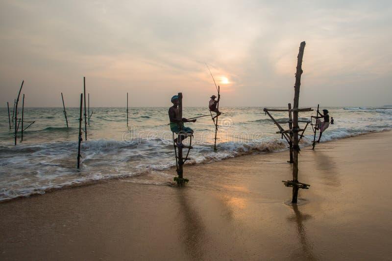 Pesca tradizionale della Sri Lanka dei pescatori dello Stilt immagine stock