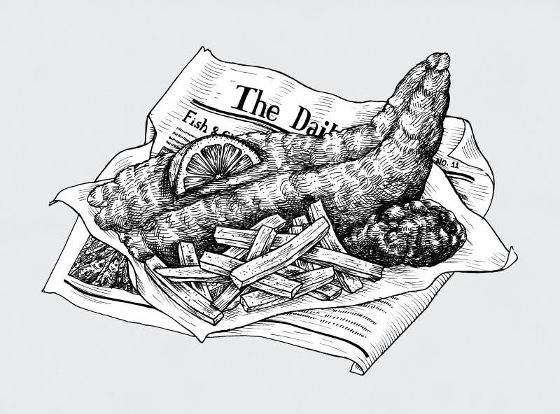 Pescado frito con patatas fritas dibujados mano stock de ilustración