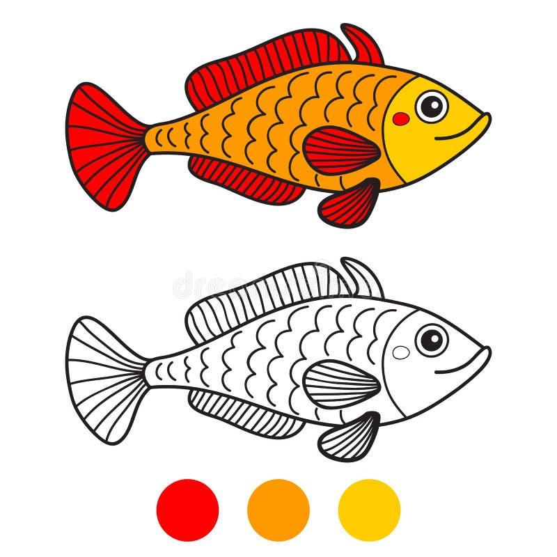 Pescado Página del libro de colorear Ilustración del vector de la historieta ilustración del vector