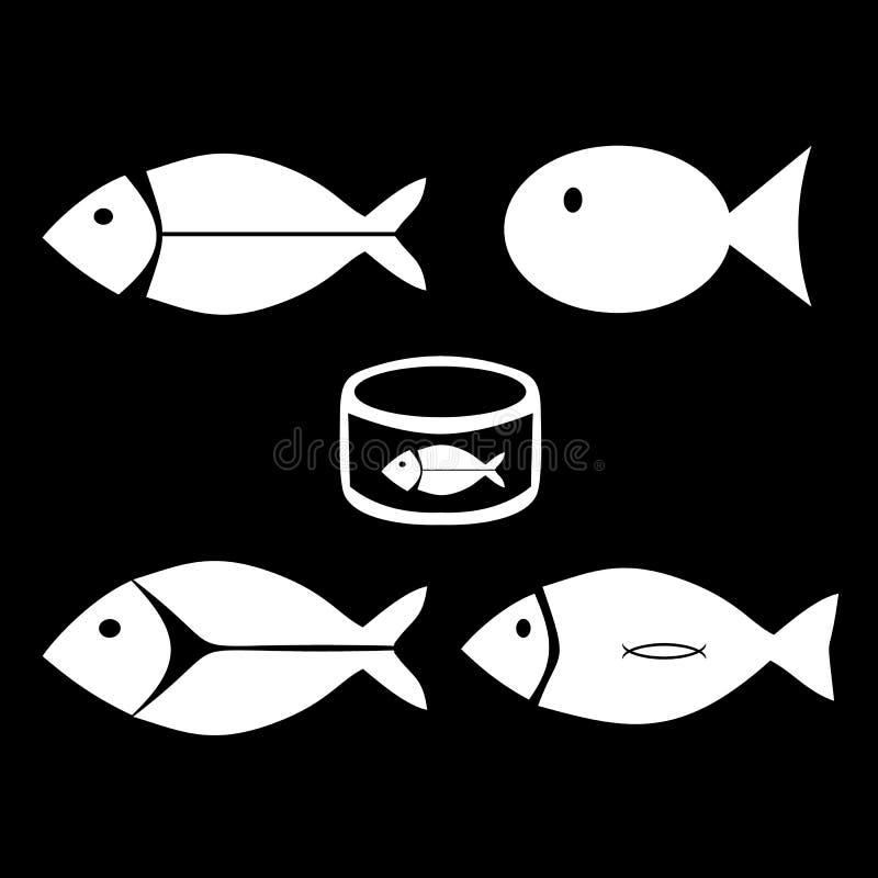 Pescado Pescados para cocinar grocery Iconos fijados Ilustración del vector stock de ilustración