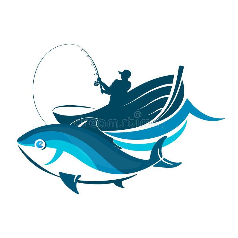 Pescado y pescador en un barco ilustración del vector