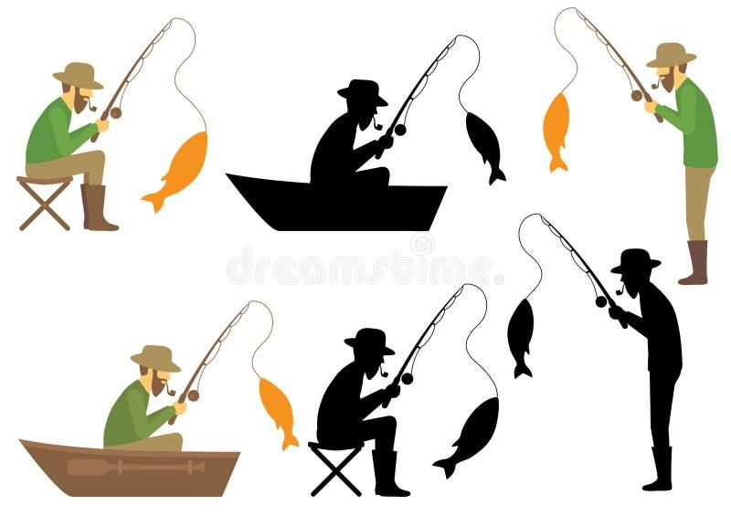 Pescador ilustração royalty free