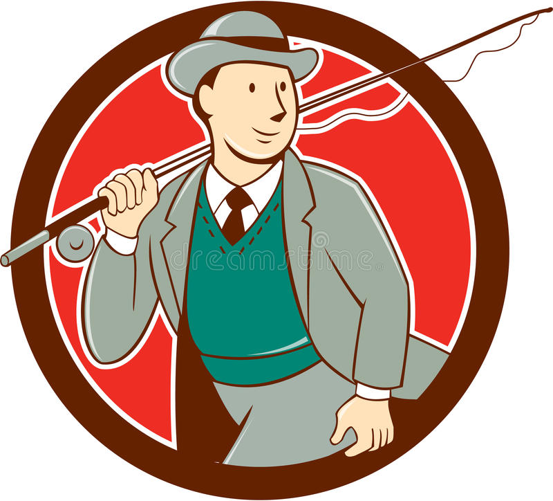 Pescador Bowler Hat Cartoon de la mosca del vintage stock de ilustración