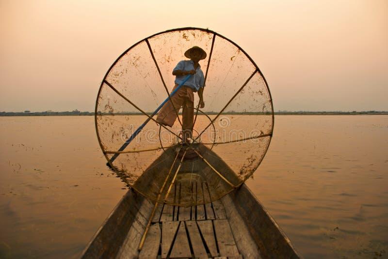 Pescador Burmese imagen de archivo libre de regalías
