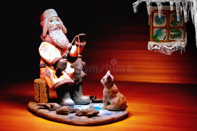 Pescador - cartão retro para o Natal imagens de stock