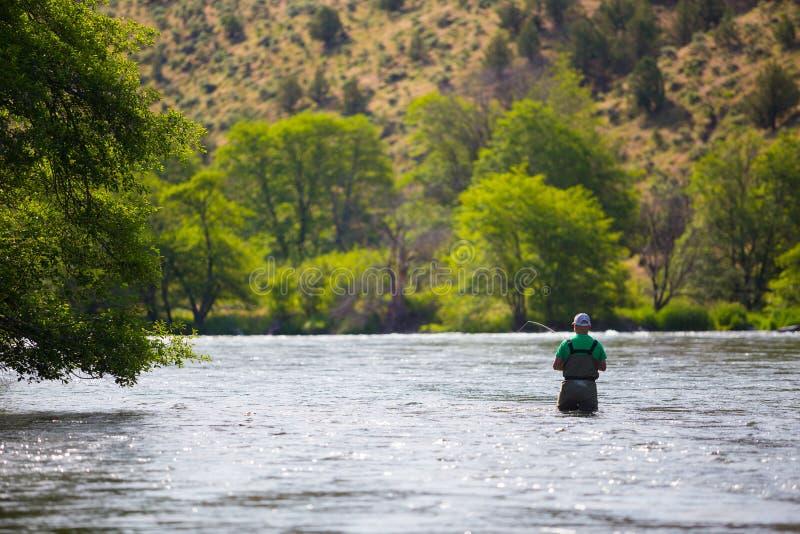Pescador Casting de la mosca en el río de Deschutes foto de archivo