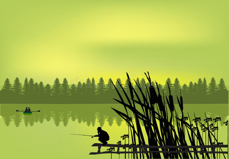Pescador cerca del lago verde del bosque libre illustration