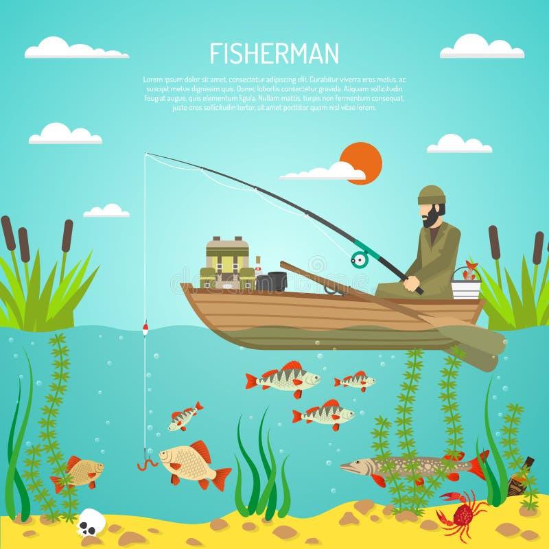 Pescador Color Design Concept libre illustration