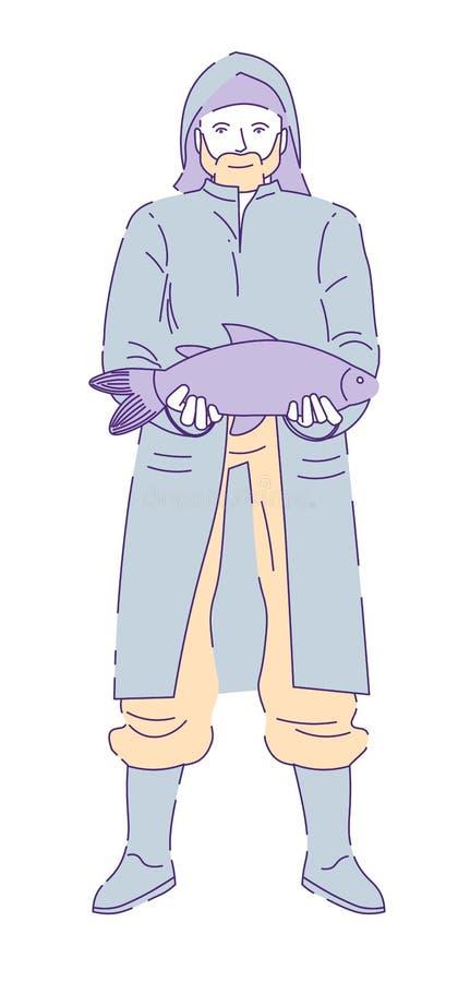 Pescador com a capa de chuva e gumboots vestindo do desejo ilustração stock