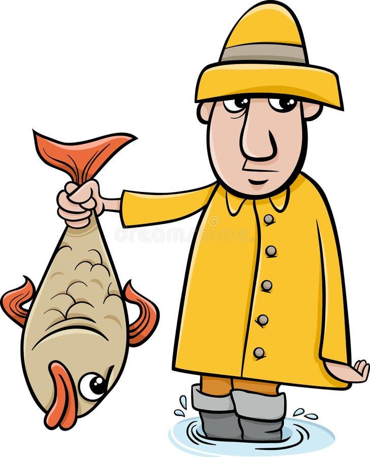 Pescador com desenhos animados dos peixes ilustração royalty free