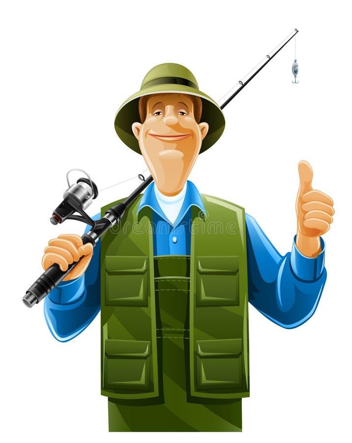 Pescador com giro da haste ilustração do vetor