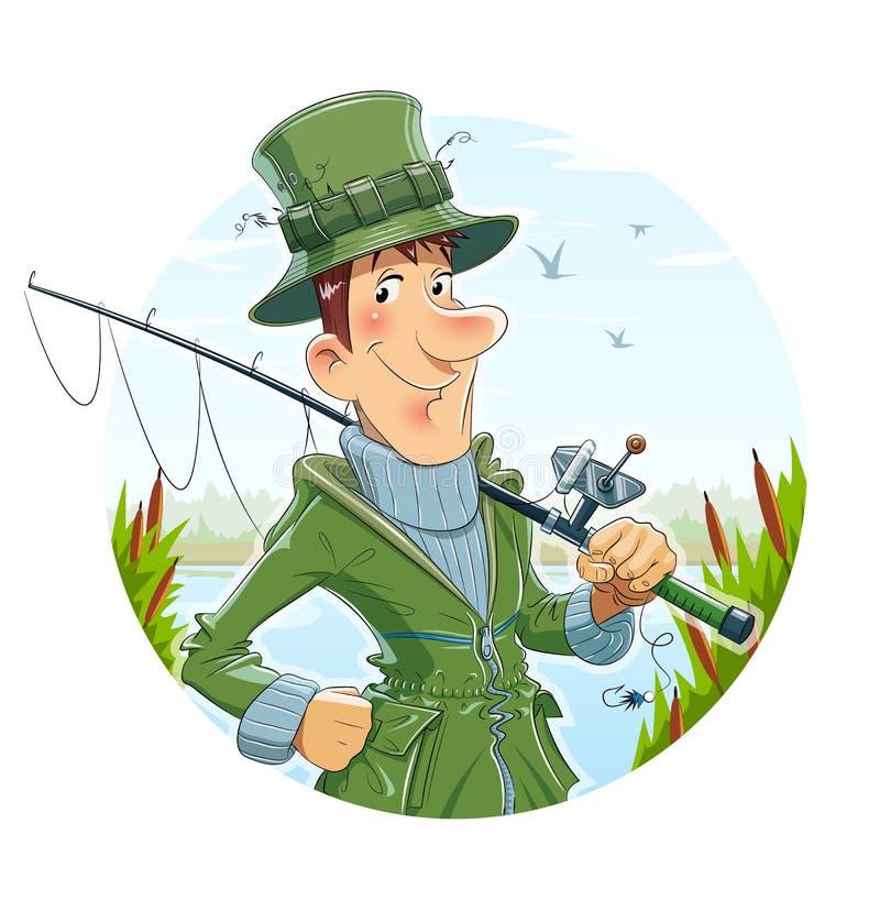 Pescador com haste pesca ilustração stock