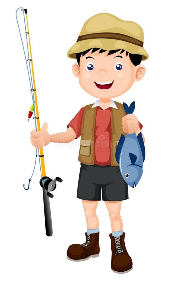 Pescador com ilustração dos peixes ilustração do vetor