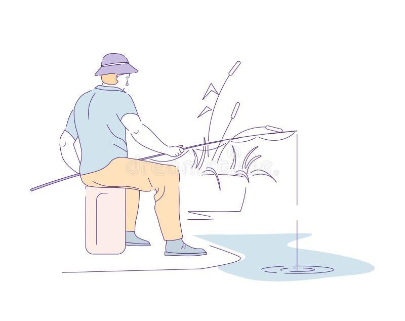 Pescador com os peixes de travamento da haste no lago ou no rio ilustração royalty free