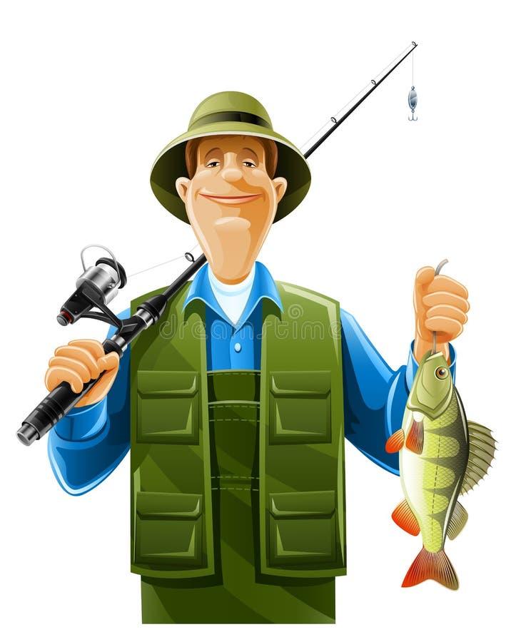 Pescador com peixes ilustração stock
