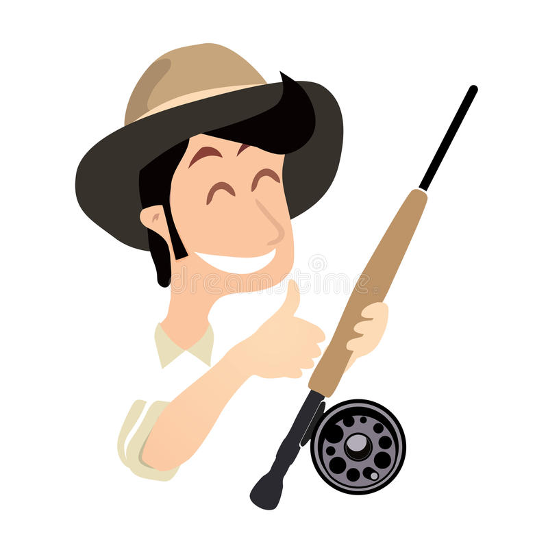 Pescador com pesca com mosca Rod e polegar acima ilustração royalty free