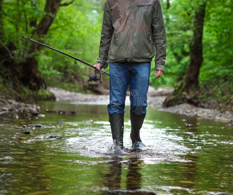 Pescador con la pesca con mosca en el río de la montaña El tiempo de primavera… subió las hojas, fondo natural fotos de archivo