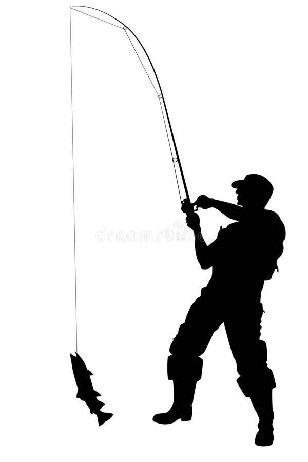 Pescador con un pescado stock de ilustración