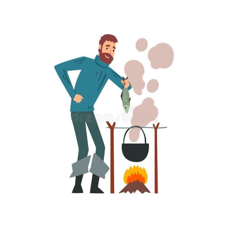 Pescador Cooking Fish Soup no caldeirão sobre a fogueira, ilustração farpada do vetor do caráter de Fishman ilustração do vetor
