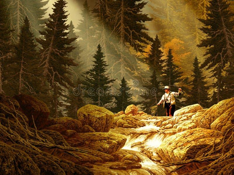 Pescador da mosca nas montanhas rochosas