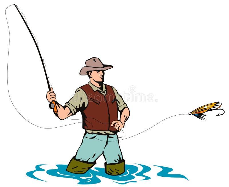 Pescador da mosca que trava uma truta ilustração stock