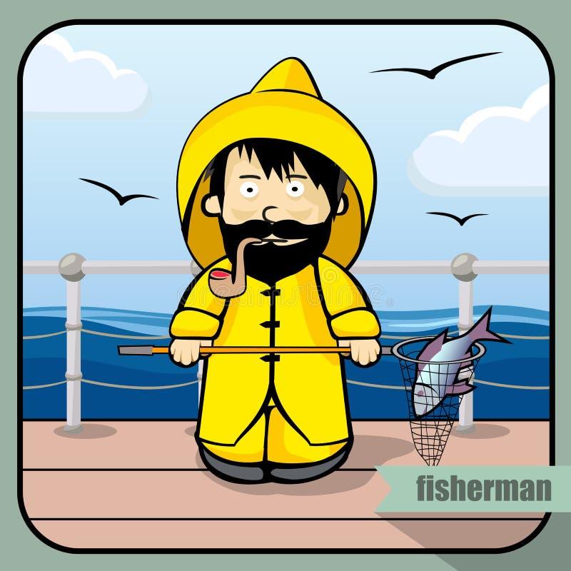 Pescador da profissão da pessoa ilustração do vetor