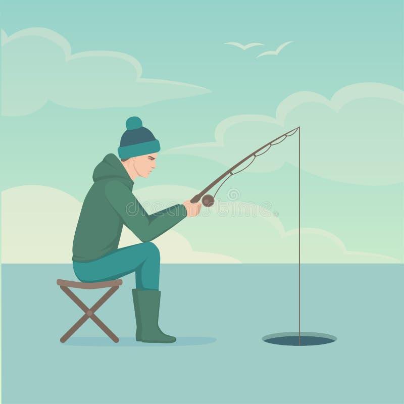 Pescador de la historieta, pescado de la catedral del hombre en la caña de pescar ilustración del vector